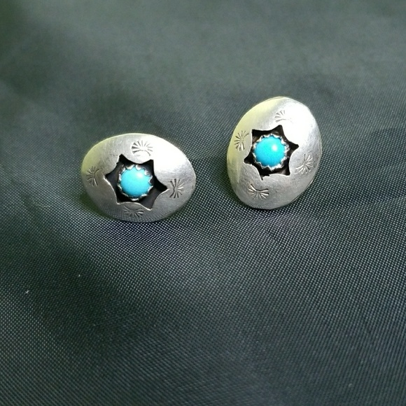 3c41069bf Vintage Jewelry   Vtg Navajo Silver Concho Style Turquoise Studs ...